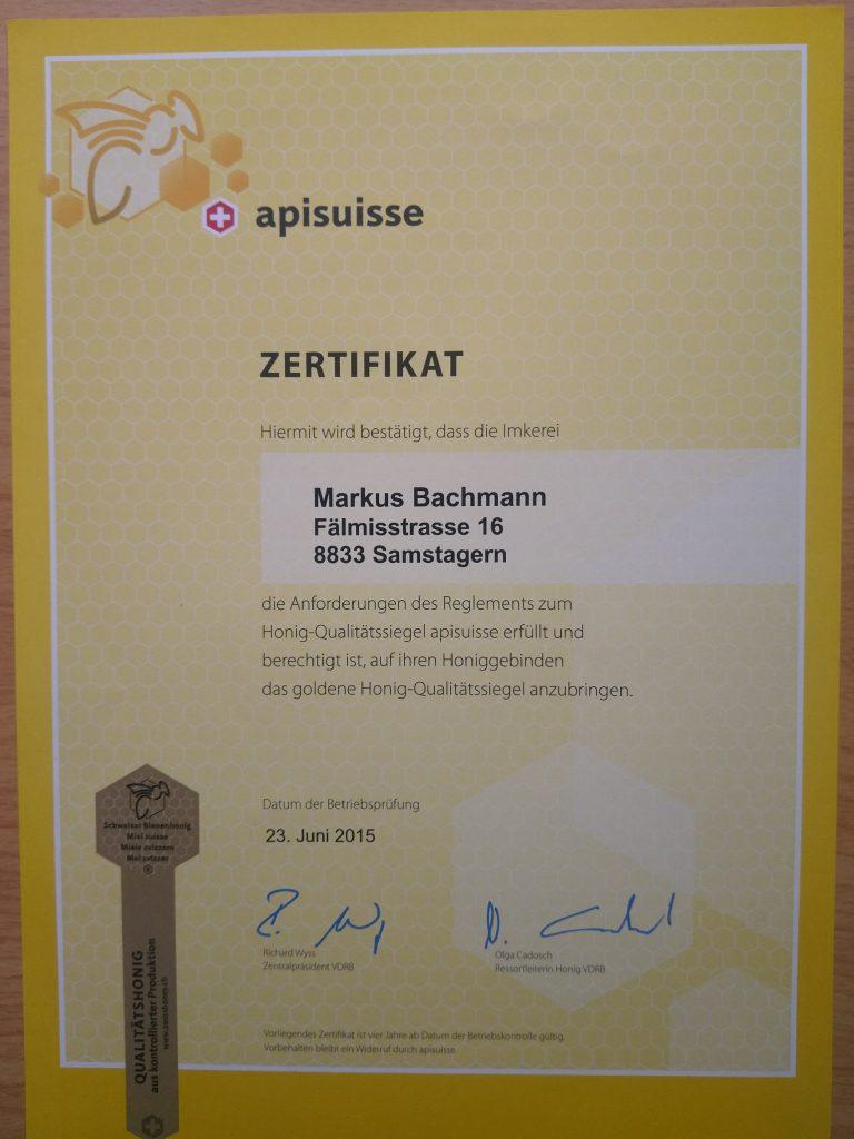 Zertifikat Siegelimker imkerei-Bachmann.ch